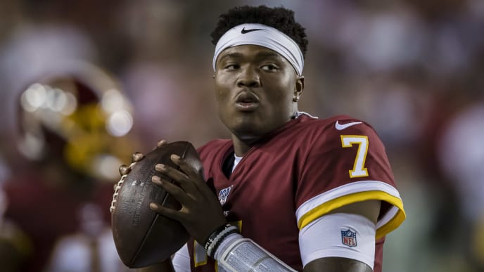 LANDOVER, MD - SEPTEMBER 23: Dwayne Haskins #7 of the Washington Redskins warms up against the Chicago Bears during the second half at FedExField on September 23, 2019 in Landover, Maryland. (Photo by Scott Taetsch/Getty Images)