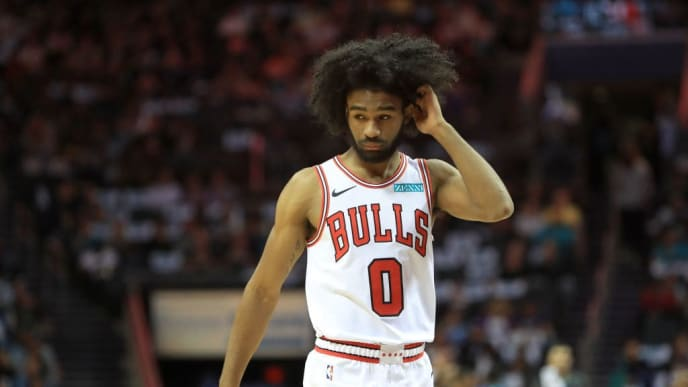 CHARLOTTE, NORTH CAROLINA - OCTOBER 23: Coby White #0 of the Chicago Bulls reacts during their game against the Charlotte Hornets at Spectrum Center on October 23, 2019 in Charlotte, North Carolina. NOTE TO USER: User expressly acknowledges and agrees that, by downloading and or using this photograph, User is consenting to the terms and conditions of the Getty Images License Agreement.  (Photo by Streeter Lecka/Getty Images)
