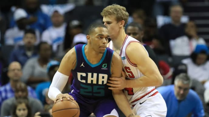 CHARLOTTE, NORTH CAROLINA - OCTOBER 23: PJ Washington #25 of the Charlotte Hornets during their game at Spectrum Center on October 23, 2019 in Charlotte, North Carolina. NOTE TO USER: User expressly acknowledges and agrees that, by downloading and or using this photograph, User is consenting to the terms and conditions of the Getty Images License Agreement.  (Photo by Streeter Lecka/Getty Images)