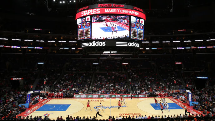LOS ANGELES, CA - NOVEMBER 17:  A general view of the arena as the Chicago Bulls play the Los Angeles Clippers at Staples Center on November 17, 2014 in Los Angeles, California.  NOTE TO USER: User expressly acknowledges and agrees that, by downloading and or using this photograph, User is consenting to the terms and conditions of the Getty Images License Agreement.  (Photo by Stephen Dunn/Getty Images)