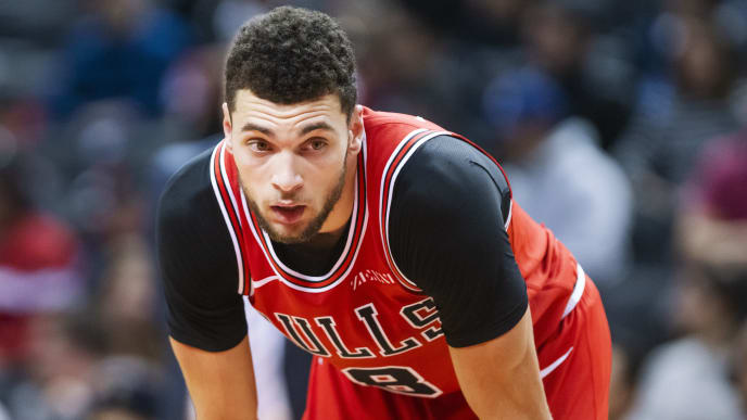 TORONTO, ONTARIO - OCTOBER 13: Zach LaVine #8 of the Chicago Bulls looks on in a break against the Toronto Raptors during their NBA basketball pre-season game at Scotiabank Arena on October 13, 2019 in Toronto, Canada. NOTE TO USER: User expressly acknowledges and agrees that, by downloading and or using this photograph, User is consenting to the terms and conditions of the Getty Images License Agreement. (Photo by Mark Blinch/Getty Images)