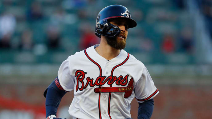 ATLANTA, GEORGIA - APRIL 01:  Ender Inciarte #11 of the Atlanta Braves rounds second base after hitting a solo homer to lead off the first inning against the Chicago Cubs on April 01, 2019 in Atlanta, Georgia. (Photo by Kevin C.  Cox/Getty Images)