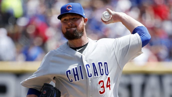 CINCINNATI, OH - AUGUST 11: Jon Lester #34 of the Chicago Cubs pitches in the first inning against the Cincinnati Reds at Great American Ball Park on August 11, 2019 in Cincinnati, Ohio. (Photo by Joe Robbins/Getty Images)