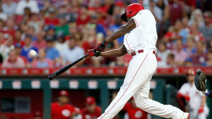 CINCINNATI, OH - AUGUST 10:  Aristides Aquino #44 of the Cincinnati Reds hits a solo home run for his third home run of the game during the third inning against the Chicago Cubs at Great American Ball Park on August 10, 2019 in Cincinnati, Ohio. (Photo by Kirk Irwin/Getty Images)