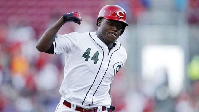 CINCINNATI, OH - AUGUST 09: Aristides Aquino #44 of the Cincinnati Reds reacts after a two-run home run in the second inning against the Chicago Cubs at Great American Ball Park on August 9, 2019 in Cincinnati, Ohio. (Photo by Joe Robbins/Getty Images)