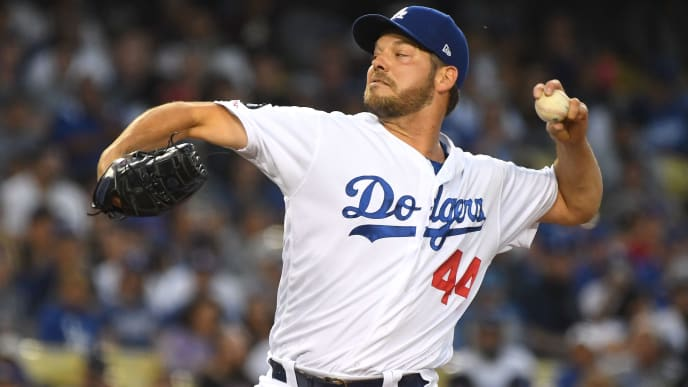 LOS ANGELES, CA - JUNE 14: Rich Hill #44 of the Los Angeles Dodgers pitches in the third inning of the game against the Chicago Cubs at Dodger Stadium on June 14, 2019 in Los Angeles, California. (Photo by Jayne Kamin-Oncea/Getty Images)