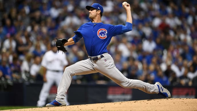 MILWAUKEE, WISCONSIN - SEPTEMBER 06:  Cole Hamels #35 of the Chicago Cubs throws a pitch during the first inning against the Milwaukee Brewers at Miller Park on September 06, 2019 in Milwaukee, Wisconsin. (Photo by Stacy Revere/Getty Images)