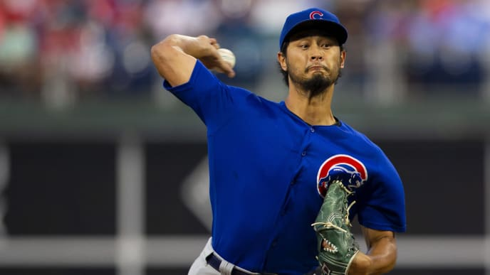 PHILADELPHIA, PA - AUGUST 15: Yu Darvish #11 of the Chicago Cubs throws a pitch in the bottom of the second inning against the Philadelphia Phillies at Citizens Bank Park on August 15, 2019 in Philadelphia, Pennsylvania. (Photo by Mitchell Leff/Getty Images)