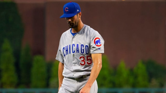PHILADELPHIA, PA - AUGUST 14: Cole Hamels #35 of the Chicago Cubs walks to the dugout after the end of the second inning against the Philadelphia Phillies at Citizens Bank Park on August 14, 2019 in Philadelphia, Pennsylvania. (Photo by Mitchell Leff/Getty Images)