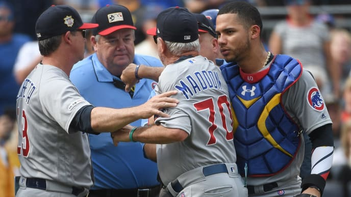 PITTSBURGH, PA - JULY 04: Joe Maddon #70 of the Chicago Cubs argues with umpire Joe West #22 after being ejected in the fourth inning during the game against the Pittsburgh Pirates at PNC Park on July 4, 2019 in Pittsburgh, Pennsylvania. (Photo by Justin Berl/Getty Images)