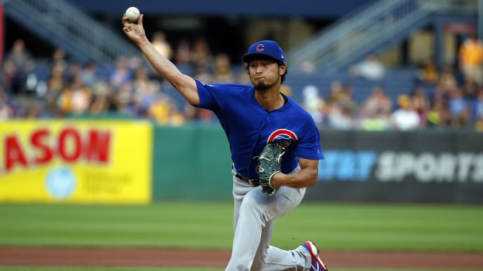 PITTSBURGH, PA - JULY 03:  Yu Darvish #11 of the Chicago Cubs pitches in the first inning against the Pittsburgh Pirates at PNC Park on July 3, 2019 in Pittsburgh, Pennsylvania.  (Photo by Justin K. Aller/Getty Images)
