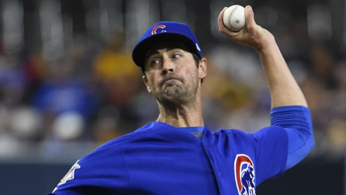 SAN DIEGO, CA - SEPTEMBER 11: Cole Hamels #35 of the Chicago Cubs pitches during the first inning of a baseball game against the San Diego Padres at Petco Park on September 11, 2019 in San Diego, California.  (Photo by Denis Poroy/Getty Images)