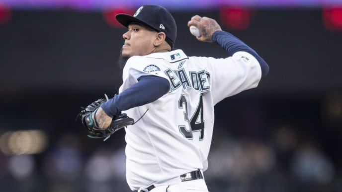 SEATTLE, WA - APRIL 30: Starter Felix Hernandez #34 of the Seattle Mariners delivers a pitch during the first inning of a game against the Chicago Cubs at T-Mobile Park on April 30, 2019 in Seattle, Washington. (Photo by Stephen Brashear/Getty Images)