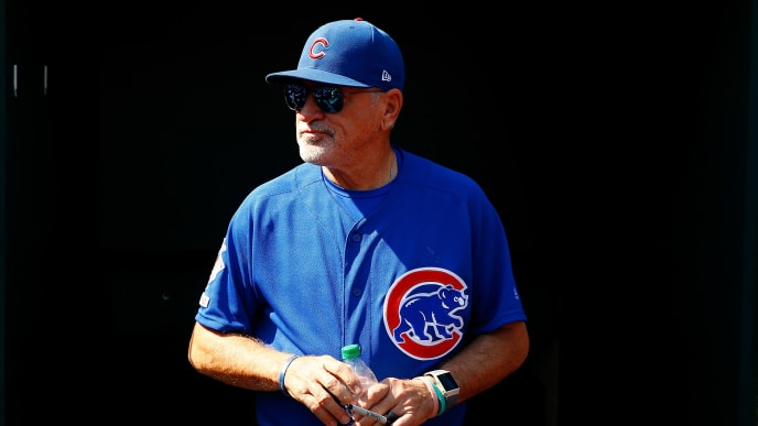 ST LOUIS, MO - SEPTEMBER 29: Manager Joe Maddon #70 of the Chicago Cubs looks on from the dugout at Busch Stadium prior to playing the St. Louis Cardinals in what is the final game of his career with the Cubs on September 29, 2019 in St Louis, Missouri. (Photo by Dilip Vishwanat/Getty Images)