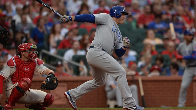 ST. LOUIS, MO - JUNE 1 : Anthony Rizzo #44 of the Chicago Cubs hits single in the third inning against the St. Louis Cardinals at Busch Stadium on June 1, 2019 in St. Louis, Missouri. (Photo by Michael B. Thomas /Getty Images)