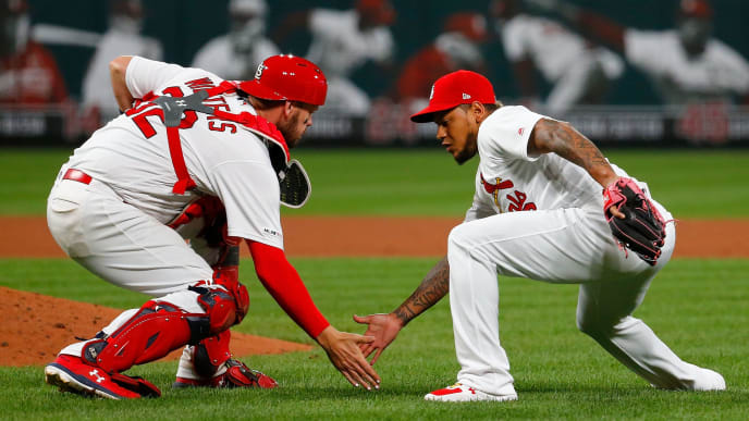 ST LOUIS, MO - JULY 30: Matt Wieters #32 and Carlos Martinez #18 of the St. Louis Cardinals celebrate after beating the Chicago Cubs at Busch Stadium on July 30, 2019 in St Louis, Missouri. (Photo by Dilip Vishwanat/Getty Images)