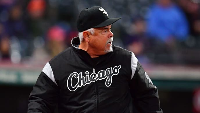 CLEVELAND, OHIO - MAY 07: Manager Rick Renteria #36 of the Chicago White Sox argues with third base umpire Marty Foster after Foster ejected Renteria during the eighth inning against the Cleveland Indians at Progressive Field on May 07, 2019 in Cleveland, Ohio. (Photo by Jason Miller/Getty Images)