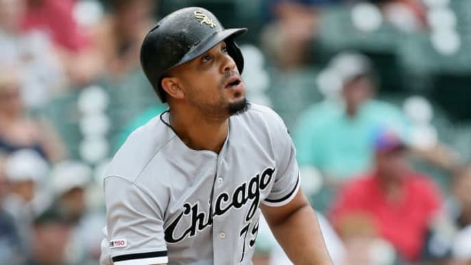 DETROIT, MI - AUGUST 6:  Jose Abreu #79 of the Chicago White Sox watches his solo home run against the Detroit Tigers during the first inning of game one of a doubleheader at Comerica Park on August 6, 2019 in Detroit, Michigan. (Photo by Duane Burleson/Getty Images)