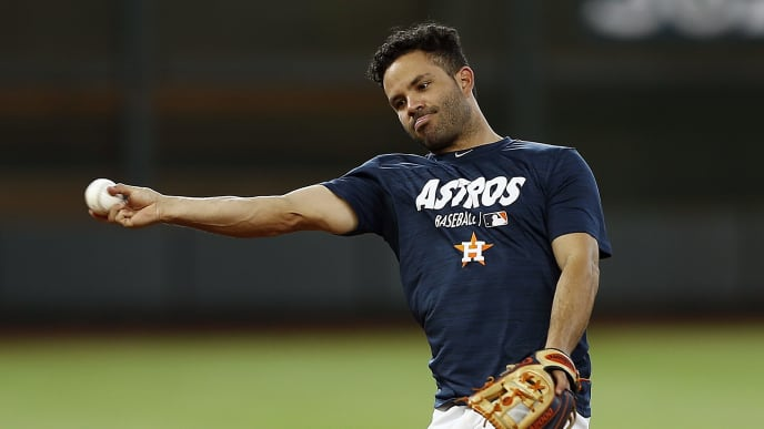 HOUSTON, TEXAS - MAY 20: Jose Altuve #27 of the Houston Astros takes some infield at Minute Maid Park on May 20, 2019 in Houston, Texas. Altuve has been on the 10 day IL with a sore hamstring. (Photo by Bob Levey/Getty Images)