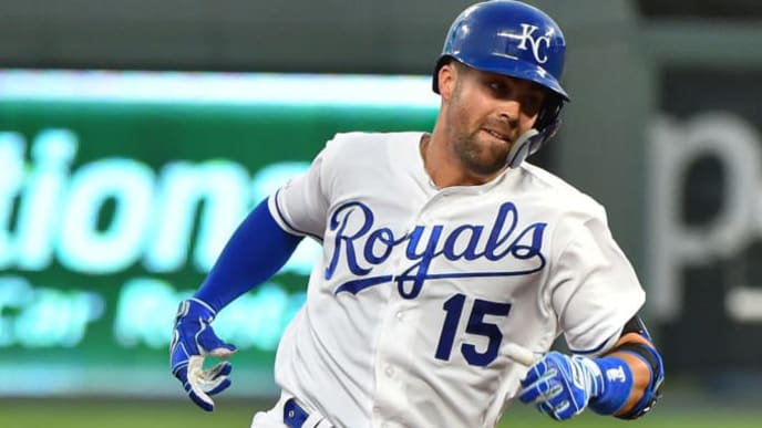 KANSAS CITY, MISSOURI - JULY 16:  Whit Merrifield #15 of the Kansas City Royals rounds third as he heads home for a two-run inside-the-park home run in the fourth inning against Chicago White Sox at Kauffman Stadium on July 16, 2019 in Kansas City, Missouri. (Photo by Ed Zurga/Getty Images)