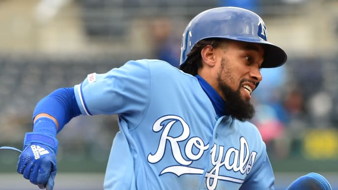 KANSAS CITY, MISSOURI - MARCH 30:  Billy Hamilton #6 of the Kansas City Royals rounds third and heads home to score on a Whit Merrifield  two-run single in the sixth inning against the Chicago White Sox at Kauffman Stadium on March 30, 2019 in Kansas City, Missouri. (Photo by Ed Zurga/Getty Images)