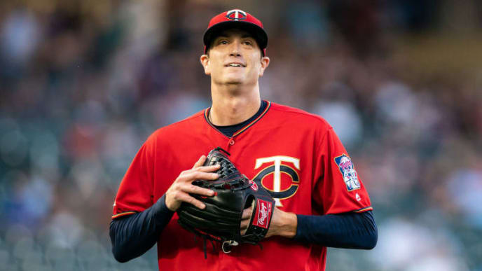 MINNEAPOLIS, MN - AUGUST 19: Kyle Gibson #44 of the Minnesota Twins looks on against the Chicago White Sox on August 19, 2019 at the Target Field in Minneapolis, Minnesota. The White Sox defeated the Twins 6-4. (Photo by Brace Hemmelgarn/Minnesota Twins/Getty Images)