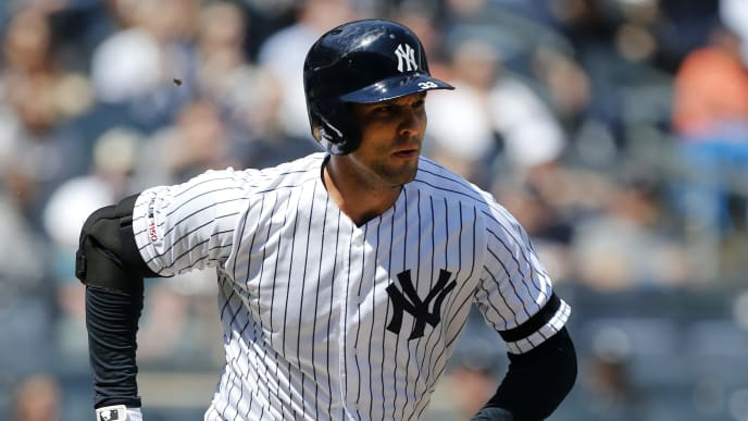 NEW YORK, NEW YORK - APRIL 13:  (NEW YORK DAILIES OUT)   Greg Bird #33 of the New York Yankees in action against the Chicago White Sox at Yankee Stadium on April 13, 2019 in New York City.  The Yankees defeated the White Sox 4-0. (Photo by Jim McIsaac/Getty Images)