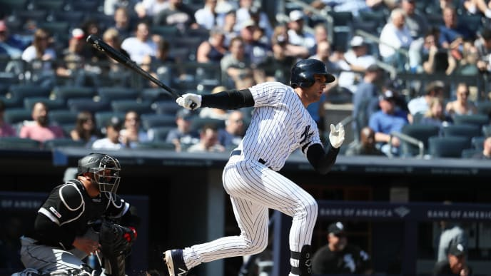 NEW YORK, NEW YORK - APRIL 13:  Greg Bird #33 of the New York Yankees bats against the Chicago White Sox during their game at Yankee Stadium on April 13, 2019 in New York City. (Photo by Al Bello/Getty Images)