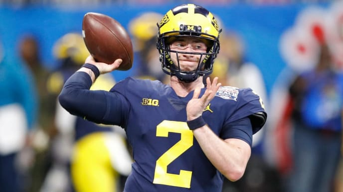 ATLANTA, GEORGIA - DECEMBER 29: Shea Patterson #2 of the Michigan Wolverines warms up prior to the Chick-fil-A Peach Bowl against the Florida Gators at Mercedes-Benz Stadium on December 29, 2018 in Atlanta, Georgia. (Photo by Joe Robbins/Getty Images)