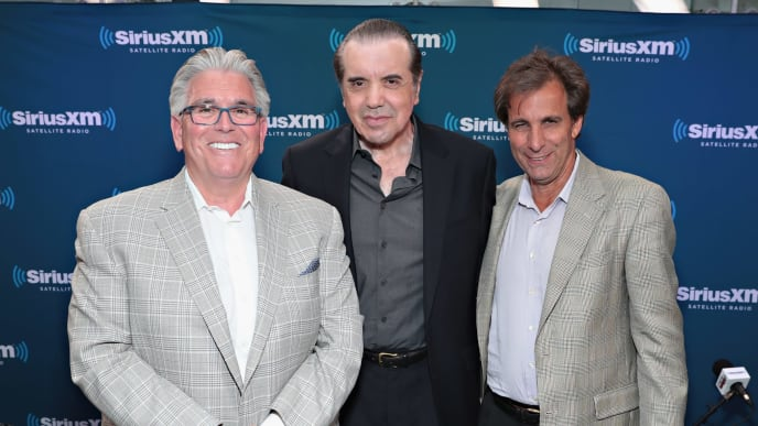 NEW YORK, NY - JULY 06:  Chris Russo (R) and Mike Francesa (L) of 'Mike and the Mad Dog' get together for a SiriusXM Town Hall hosted by Chazz Palminteri (C) at SiriusXM Studios on July 6, 2017 in New York City.  (Photo by Cindy Ord/Getty Images for SiriusXM)