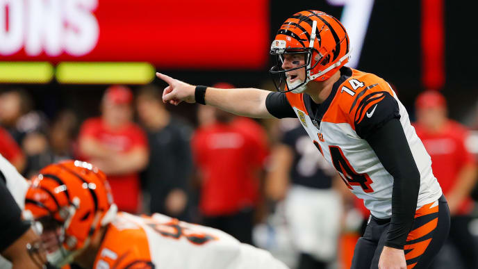 ATLANTA, GA - SEPTEMBER 30: Andy Dalton #14 of the Cincinnati Bengals makes a call at the line during the second quarter against the Atlanta Falcons at Mercedes-Benz Stadium on September 30, 2018 in Atlanta, Georgia. (Photo by Kevin C. Cox/Getty Images)