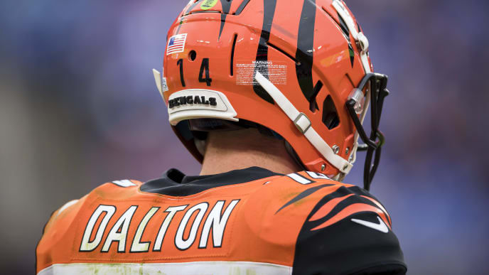 BALTIMORE, MD - OCTOBER 13: Andy Dalton #14 of the Cincinnati Bengals looks on against the Baltimore Ravens during the second half at M&T Bank Stadium on October 13, 2019 in Baltimore, Maryland. (Photo by Scott Taetsch/Getty Images)