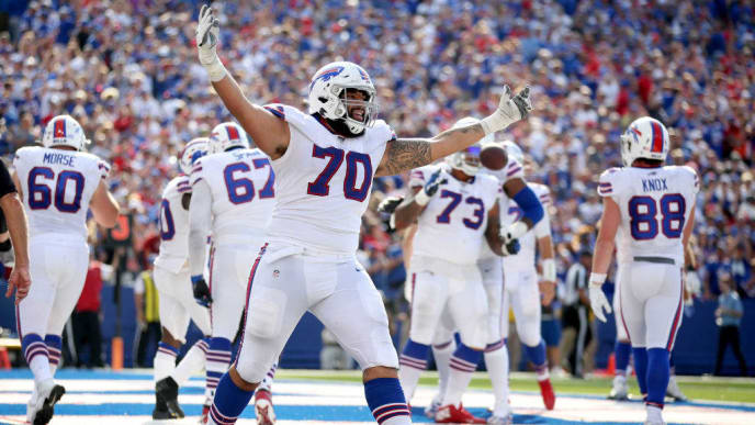 ORCHARD PARK, NEW YORK - SEPTEMBER 22: Cody Ford #70 of the Buffalo Bills celebrates after a touchdown during a game against the Cincinnati Bengals at New Era Field on September 22, 2019 in Orchard Park, New York. (Photo by Bryan M. Bennett/Getty Images)