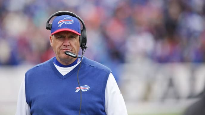 ORCHARD PARK, NY - OCTOBER 18:  Head Coach Rex Ryan of the Buffalo Bills walks the sideline during the second half of a game against the Cincinnati Bengals at Ralph Wilson Stadium on October 18, 2015 in Orchard Park, New York.  (Photo by Brett Carlsen/Getty Images)