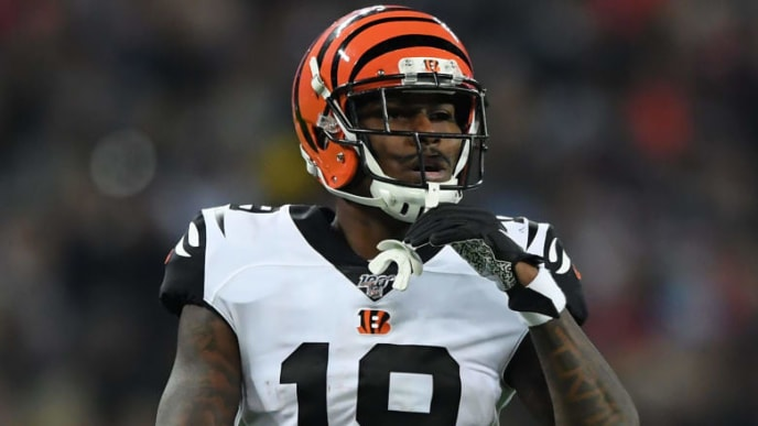 LONDON, ENGLAND - OCTOBER 27:  Auden Tate of Cincinnati Bengals looks on during the NFL game between Cincinnati Bengals and Los Angeles Rams at Wembley Stadium on October 27, 2019 in London, England. (Photo by Alex Davidson/Getty Images)