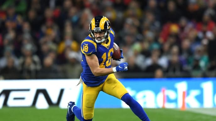 LONDON, ENGLAND - OCTOBER 27: Cooper Kupp of Los Angeles Rams runs with the ball during the NFL game between Cincinnati Bengals and Los Angeles Rams at Wembley Stadium on October 27, 2019 in London, England. (Photo by Alex Davidson/Getty Images)