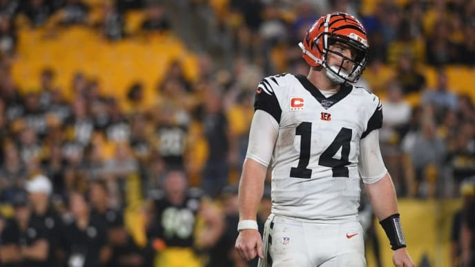 PITTSBURGH, PA - SEPTEMBER 30: Andy Dalton #14 of the Cincinnati Bengals walks off the field after being stopped on a fourth down play in the second half during the game against the Pittsburgh Steelers at Heinz Field on September 30, 2019 in Pittsburgh, Pennsylvania. (Photo by Justin Berl/Getty Images)
