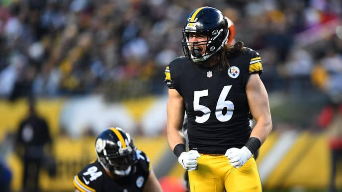 PITTSBURGH, PA - DECEMBER 30: Anthony Chickillo #56 of the Pittsburgh Steelers reacts after a sack in the first quarter during the game against the Cincinnati Bengals at Heinz Field on December 30, 2018 in Pittsburgh, Pennsylvania. (Photo by Joe Sargent/Getty Images)