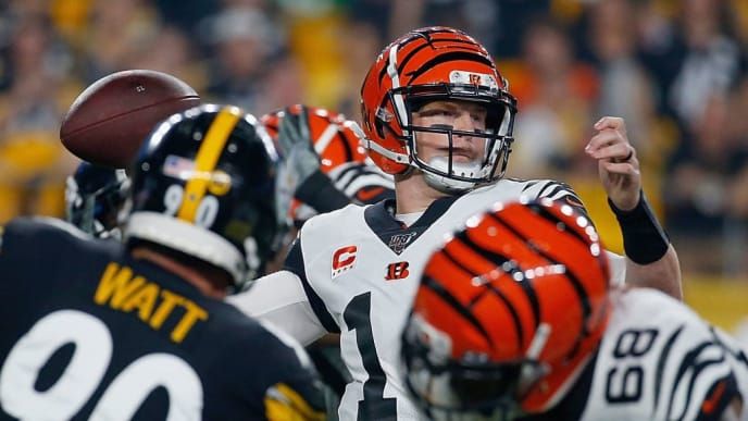 PITTSBURGH, PENNSYLVANIA - SEPTEMBER 30: Quarterback Andy Dalton #14 of the Cincinnati Bengals passes over the defense of the Pittsburgh Steelers during the game at Heinz Field on September 30, 2019 in Pittsburgh, Pennsylvania. (Photo by Justin K. Aller/Getty Images)