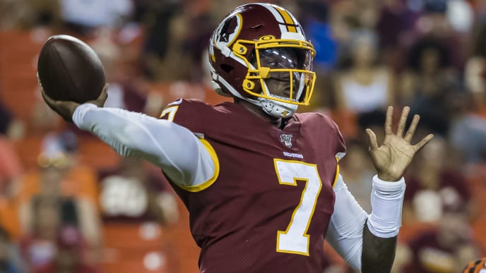 LANDOVER, MD - AUGUST 15: Dwayne Haskins #7 of the Washington Redskins drops back to pass against the Cincinnati Bengals during the second half of a preseason game at FedExField on August 15, 2019 in Landover, Maryland. (Photo by Scott Taetsch/Getty Images)
