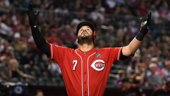 PHOENIX, ARIZONA - SEPTEMBER 15: Eugenio Suarez #7 of the Cincinnati Reds reacts after hitting a solo home run off of Zac Gallen #59 of the Arizona Diamondbacks during the fourth inning at Chase Field on September 15, 2019 in Phoenix, Arizona. (Photo by Norm Hall/Getty Images)