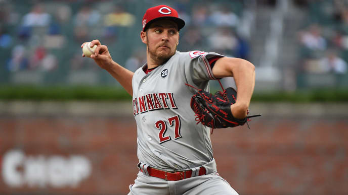 ATLANTA, GEORGIA - AUGUST 03: Trevor Bauer #27 of the Cincinnati Reds p[itches in the second inning against the Atlanta Braves at SunTrust Park on August 03, 2019 in Atlanta, Georgia. (Photo by Logan Riely/Getty Images)