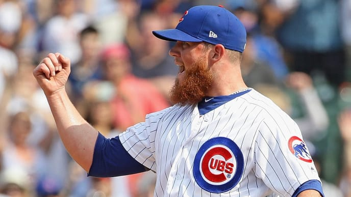 CHICAGO, ILLINOIS - JULY 17: Craig Kimbrel #24 of the Chicago Cubs celebrates a win over the Cincinnati Reds at Wrigley Field on July 17, 2019 in Chicago, Illinois. The Cubs defeated the Reds 5-2. (Photo by Jonathan Daniel/Getty Images)