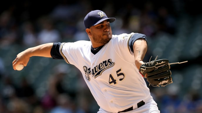 MILWAUKEE, WISCONSIN - JULY 24:  Jhoulys Chacin #45 of the Milwaukee Brewers pitches in the first inning against the Cincinnati Reds at Miller Park on July 24, 2019 in Milwaukee, Wisconsin. (Photo by Dylan Buell/Getty Images)