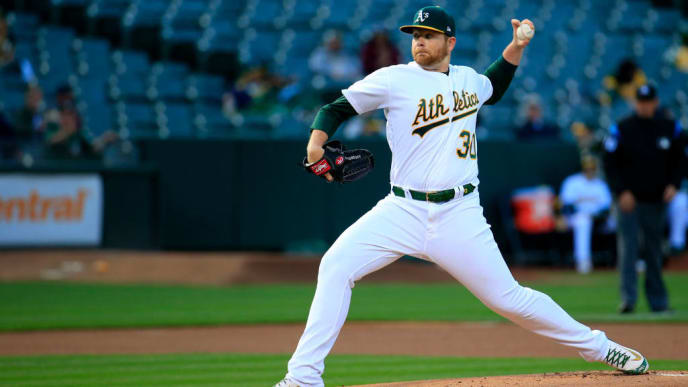 OAKLAND, CALIFORNIA - MAY 08: Brett Anderson #30 of the Oakland Athletics pitches during the first inning against the Cincinnati Reds at Oakland-Alameda County Coliseum on May 08, 2019 in Oakland, California. (Photo by Daniel Shirey/Getty Images)