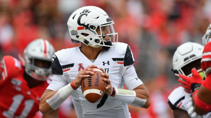 COLUMBUS, OH - SEPTEMBER 7:  Quarterback Desmond Ridder #9 of the Cincinnati Bearcats passes against the Ohio State Buckeyes at Ohio Stadium on September 7, 2019 in Columbus, Ohio.  (Photo by Jamie Sabau/Getty Images)
