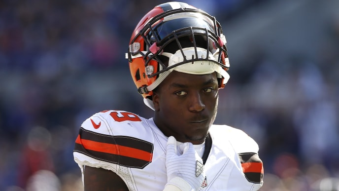 BALTIMORE, MD - OCTOBER 11: Running back Duke Johnson #29 of the Cleveland Browns looks on in the second quarter of a game against the Cleveland Browns at M&T Bank Stadium on October 11, 2015 in Baltimore, Maryland. (Photo by Rob Carr/Getty Images)