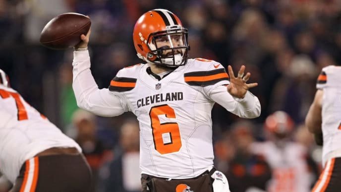 BALTIMORE, MARYLAND - DECEMBER 30: Quarterback Baker Mayfield #6 of the Cleveland Browns throws the ball against the Baltimore Ravens at M&T Bank Stadium on December 30, 2018 in Baltimore, Maryland. (Photo by Patrick Smith/Getty Images)
