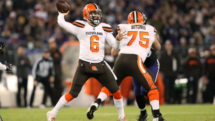 BALTIMORE, MARYLAND - DECEMBER 30: Quarterback Baker Mayfield #6 of the Cleveland Browns throws the ball in the second quarter against the Baltimore Ravens at M&T Bank Stadium on December 30, 2018 in Baltimore, Maryland. (Photo by Patrick Smith/Getty Images)
