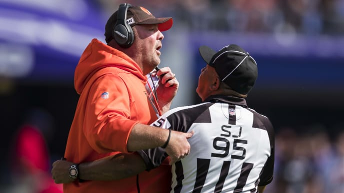 BALTIMORE, MD - SEPTEMBER 29: Head coach Freddie Kitchens of the Cleveland Browns is restrained by field judge James Coleman #95 during the first half against the Baltimore Ravens at M&T Bank Stadium on September 29, 2019 in Baltimore, Maryland. (Photo by Scott Taetsch/Getty Images)
